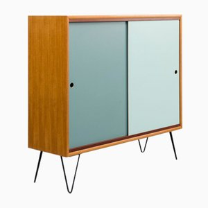 Teak Sideboard on Hairpin Legs with Colored Reversible Doors, 1960s