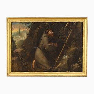 Antique Painting, Saint Francis, 18th-Century