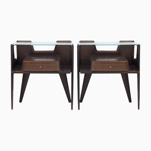 Rosewood Nightstands with Glass Top, 1950s, Set of 2