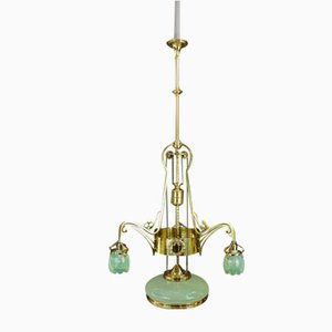 Viennese Jugendstil Adjustable Opaline Glass Chandelier, 1908