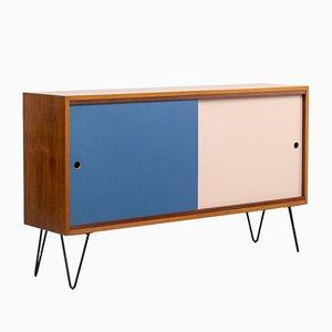 Walnuss Sideboard auf Hairpin Beinen mit Reversiblen Türen, 1960er