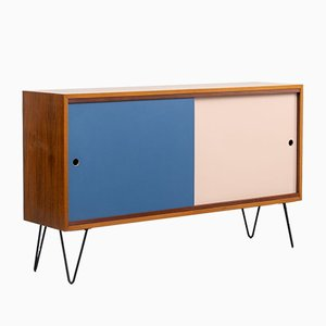Walnut Sideboard on Hairpin Legs with Reversible Doors, 1960s