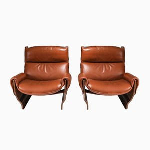 Mid-Century Cognac Leather Lounge Chairs by Osvaldo Borsani, Set of 2