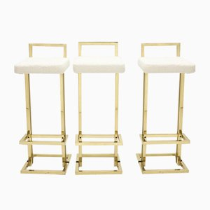 Brass & Bouclé Wool Bar Stools from Maison Jansen, 1970s, Set of 3