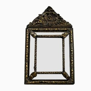 Small Louis XIV Style Brass Mirror, 1800s