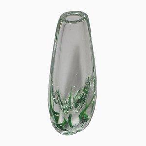 Schwedische Mid-Century Sjögräs Vase aus Glas von Vicke Lindstrand für Kosta