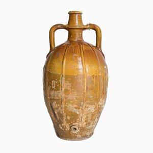 Jarrón italiano antiguo de cerámica esmaltada, década de 1800