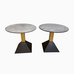 Italian Granite and Brass Side Tables, 1980s, Set of 2
