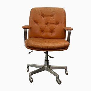 Silla de escritorio giratoria de cuero marrón de Vaghi, años 60