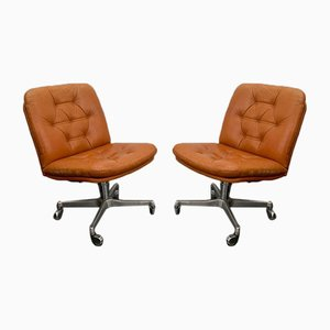 Brown Leather Swivel Desk Chairs from Vaghi, 1960s, Set of 2