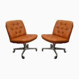 Sedie da scrivania girevoli in pelle marrone di Vaghi, anni '60, set di 2