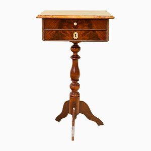 Antique English Palm & Mahogany Side Table with Drawer, 1800s