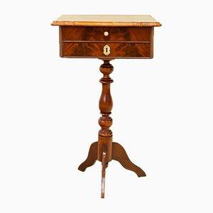 Mesa auxiliar inglesa antigua de caoba con cajón, década de 1800