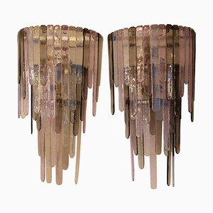 Apliques de cristal de Murano de Leucos, años 80. Juego de 2