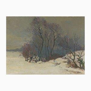 Henri Roidot, paisaje invernal de árboles en la nieve, óleo sobre lienzo