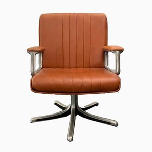 Sedia da scrivania girevole in pelle marrone di Osvaldo Borsani per Techno, anni '70