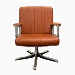 Silla de escritorio giratoria de cuero marrón de Osvaldo Borsani para Techno, años 70
