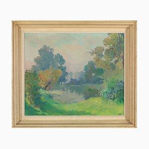 Henri Roidot, Landscape Painting, Trees at a Pond, Huile sur Toile