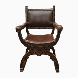 Italian Brown Leather & Oak Armchair