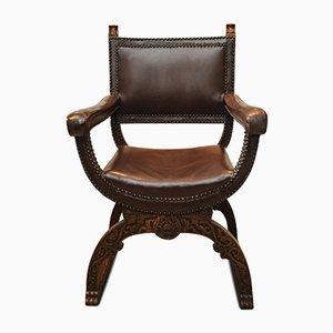 Italienischer Armlehnstuhl aus braunem Leder & Eiche