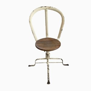 Antique Metal & Oak Swivel Chair by Simal, 1900s
