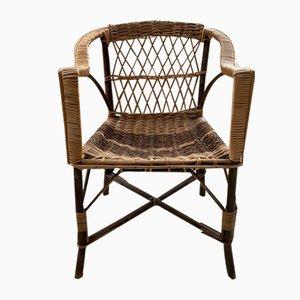 Stuhl aus Korbgeflecht & Holz, 1950er