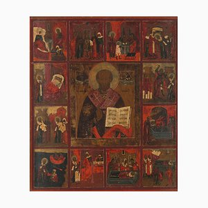Mid-19th-Century Polychrome Russian Icon of Saint Sergius