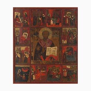 Polychrome russische Ikone des Heiligen Sergius, Mitte des 19. Jh