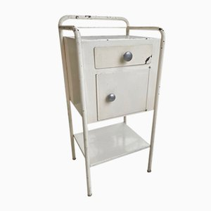 Industrial White Metal Nightstand, 1950s