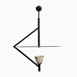 Schwarz-weiße Deckenlampe von Gino Vistosi für Murano, 1970er