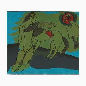 Corneille Guillaume, Nackter mit Tieren, Lithographie