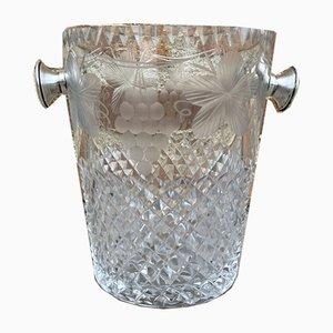 Mid-Century Crystal Glass Ice Bucket, 1960s