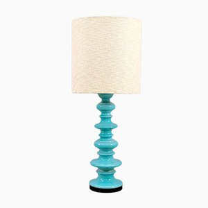 Vintage Turquoise & Beige Ceramic Table Lamp from Kaiser Idell / Kaiser Leuchten, 1970