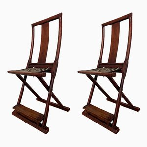 Antique Chinese Folding Chairs, 1930s, Set of 2