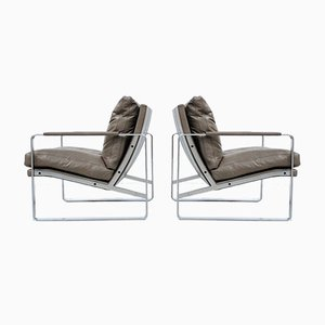 Scandinavian Steel and Taupe Leather Lounge Chairs by Preben Fabricius for Walter Knoll, 1972, Set of 2
