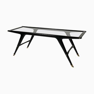 Mid-Century Italian Black Lacquered Coffee Table with Glass Top