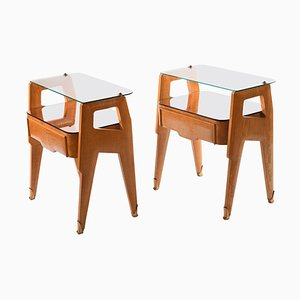 Mid-Century Italian Nightstands with Glass Top, Set of 2