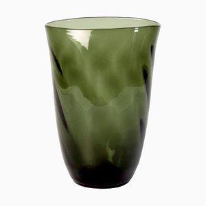 Jarrón sueco Art Déco de vidrio gris hecho a mano
