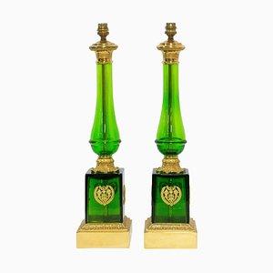 Empire Stil Glas und Messing Säulen Tischlampe, Frankreich, 2er Set
