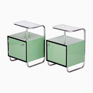 Mesitas de noche Bauhaus vintage en verde, años 30. Juego de 2