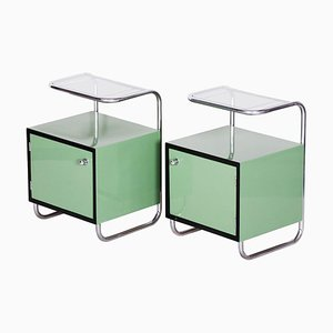 Vintage Green Bauhaus Bedside Tables, 1930s, Set of 2