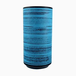 Knabstrup Ceramic Vase with Glaze in Shades of Blue, 1960s