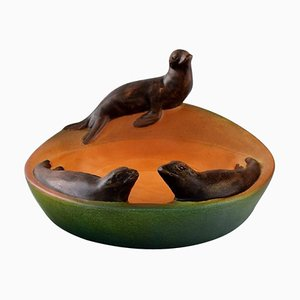 Model 143 Dish with Sea Lions in Hand Painted Glazed Ceramics from Ipsen's, Denmark, 1930s