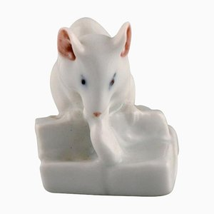 Model 5905 Porcelain Figurine of Little White Mouse from Royal Copenhagen, 1920s