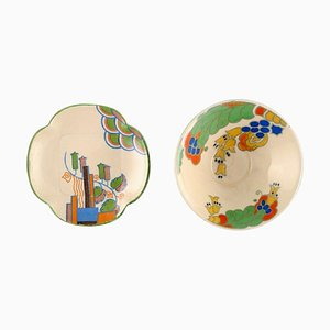 Caprice and Marina Bowl on Base and Dish from Royal Doulton, England, Set of 2