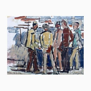 Männer im Hafen von Nizza von Alfred Salvignon, 1962