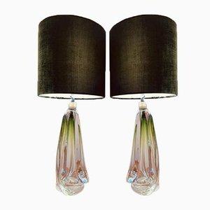 Hellgrüne Tischlampen aus Kristallglas von Val St. Lambert, 1950er, 2er Set