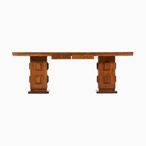 Französischer Eichenholz Schreibtisch, 1950er
