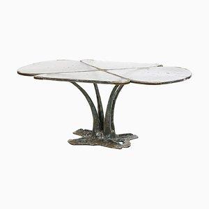 Tavolino da caffè Fleur in bronzo e vetro, anni '80