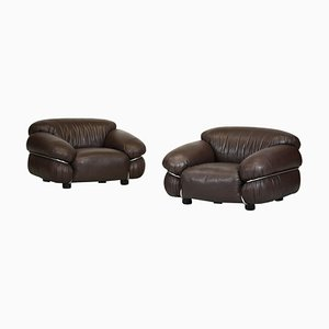 Sesann Leather Armchairs by Gianfranco Frattini for Cassina, Set of 2